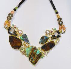"""""""Mink Coat"""" necklace with boulder opal, drusy quartz, pearl, tsavorites, zircon in 22k and 18k gold.  by Jennifer Kalled; Boulder opals from Bill Kasso  www.kalledjewelrystudio.com"""