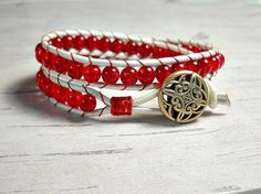 Red Leather Wrap Bracelet Wrap Around by BeadWorkBySmileyKit