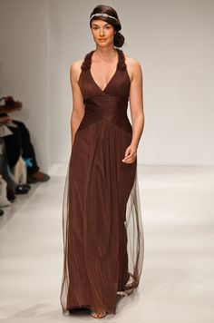 Simple Alfred Angelo new way to wear my hair with that brown dress Brown Wedding DressesBridesmaid