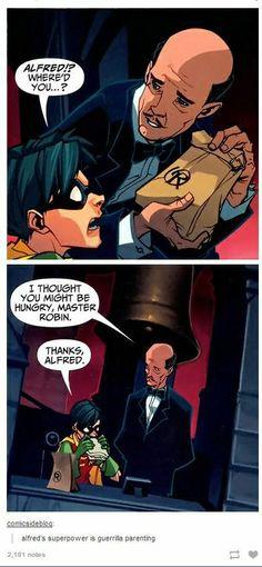 Alfred's Superpower - Can we take a moment to appreciate the fact that the paper lunch bag has the Robin symbol on it? - Batman knows how to hire his staff Nightwing, Batgirl, I Am Batman, Batman Robin, Gotham Batman, Batman Art, Marvel Dc Comics, Damian Wayne, Dc Memes