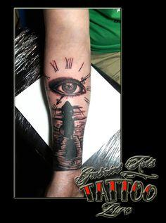 Clock&eye tattoo