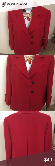 """Tahari fire engine red blazer/suit jacket Brand new with tags, was part of a two piece suit. Selling only blazer. Fire engine red 3/4"""" sleeves with cuff, two button closure, pleat along center in the back. Approximately 21"""" long sleeves are approximately 19 1/4"""" long. Tahari Jackets & Coats Blazers"""