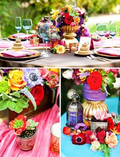 A vibrant table setting with great colors. Found on Hostess with the Mostess, http://paintmeplaid.com/2011/08/02/tuesday-huesday-rich-vibrant-table-setting/
