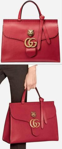 GG Marmont Leather Top Handle Bag, Red