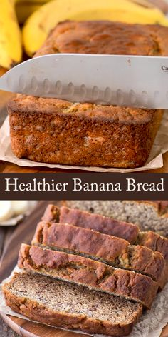 Banana Bread - Healthier greek yogurt banana bread that uses no sugar, oil or butter. This banana bread uses honey -Healthier Banana Bread - Healthier greek yogurt banana bread that uses no sugar, oil or butter. This banana bread uses honey - Th. Best Keto Bread, Healthy Bread Recipes, Banana Bread Recipes, Healthy Baking, Cake Recipes, Banana Recipes No Sugar, Banana Recipes Videos, Banana Bread Without Sugar, Flaxseed Meal Recipes