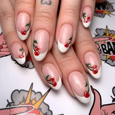 Floral play an important role in nail art design. Many people like the floral nail art design. Floral give people a sense of vitality and make people full of hope for life. In this article, we have collected 65 stylish floral nail art designs for yo French Nail Art, French Tip Nails, Spring Nails, Summer Nails, Cute Nails, Pretty Nails, Cherry Nail Art, Classy Nail Art, Confetti Nails