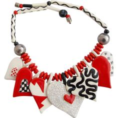 Vintage Ruby Z Candace Loheed Ceramic Heart Necklace in Red, White and Black 30% OFF SALE on over 300 items!  Sale hours Thur., Jan. 18 until Sun., Jan 21 8am PST.  Shop now for best selection.