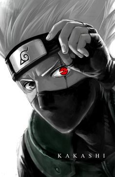 """Sharingan Eye Kakashi"" by morbidprince. Nice contrast of  the eye and the rest of the image XD"