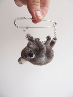 Koala Bear Felted Animal Brooch Koala Jewelry by ShishLOOKdesign