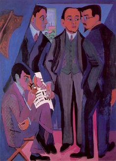 Die Brücke: Painting of the group members by Ernst Ludwig Kirchner 1926/7