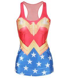 Camiseta chica tirantes Wonder Woman. DC Comics Sexi camiseta de tirantes con el logo de la superheroina Mujer Maravilla (Wonder Woman).