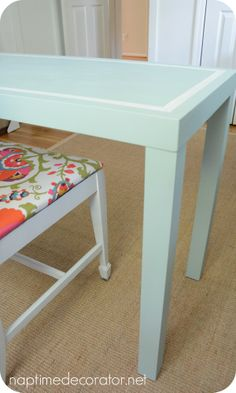 $5 Yard sale desk makeover, using @Sherwin-Williams Watery! LOVE!!