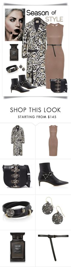 """""""Roberto Cavalli Buckle Detail Animal Print Coat Look"""" by romaboots-1 ❤ liked on Polyvore featuring Iris & Ink, Alexander Wang, Alexis Bittar, Tom Ford and Paule Ka"""