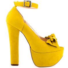 Play up your feminine side with the Van Essa by Luichiny.  A pretty yellow fabric highlights this silhouette and features an ankle strap and lovable bow at the vamp.  A 6 inch thick heel and 2 inch platform completes this must have.