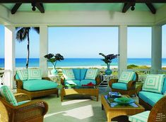 Decorating with a Caribbean influence . . . Turqoise tropical outdoor furniture