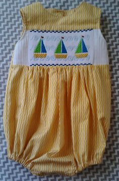 Faux smocked sailboat bubble by JosiesStitchary on Etsy, $54.00