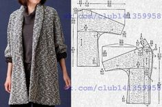 Cardigan (coat) with tselnokroyeny sleeves and a shalevy collar pattern on the sizes (dews. Coat Patterns, Dress Sewing Patterns, Sewing Patterns Free, Free Sewing, Clothing Patterns, Sewing Coat, Sewing Clothes, Diy Clothes, Fashion Sewing