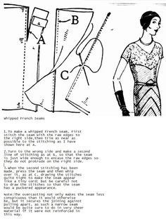 vintage 1930's free tutorial for sewing whipped french seams for sheer fabrics.