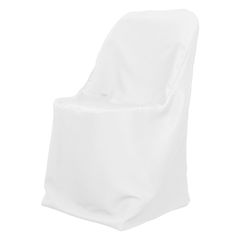 Dress up the drab with polyester folding chair covers. A white folding chair cover is made with stain and wrinkle resistant polyester material that can be laundered in your home washing machine time and time again. Although folding chairs may look dull on their own, folding chair covers heighten the overall venue presentation when coordinated with event colors.  Add depth to your event design by complementing chair covers with chair sashes of a different color or texture.   Fits folding…