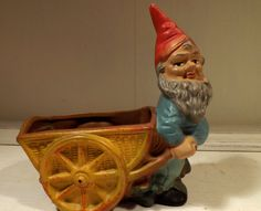 Antique Heissner Gnome with Coal Cart