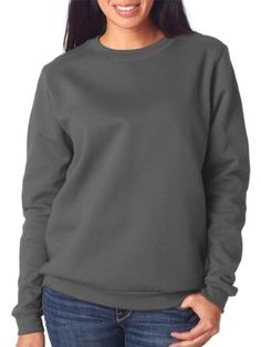 Anvil Ladies Fashion Crew Neck Sweatshirt  Charcoal  M Color Charcoal Size Medium Model 71000FL ** See this great product.