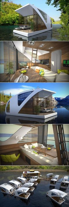 This new Floating Hotel with Catamaran Apartments aims at promoting low-impact tourism on inland waters. Consisting of small, floating catamarans, the floating hotel is a perfect solution for tourism without harming the natural environment or people. Future House, Floating Hotel, Casas Containers, Best Tiny House, Modern Tiny House, Tiny House Design, Catamaran, Architecture Design, Architecture Definition