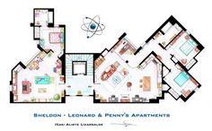 Os apartamentos de Sheldon & Leonard e Penny, da série Big Bang Theory (Foto: Nikneuk)