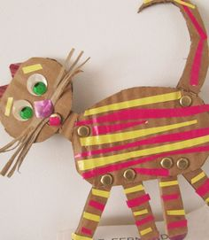 Cardboard Animals: use paper-fasteners to make moving arms & legs