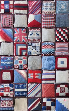 7ca1a15644a Fabulous cushions knitted for the Innsbruck Olympics as part of the  Woolsack project