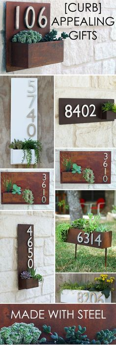 Urban Mettles modern wall planters are created with a commitment to quality and a love for succulents! These modern outdoor planters and address plaques will add instant curb appeal to your home. - Home Decor Styles Outdoor Planters, Modern Planters, Rustic Planters, Patio Plants, Concrete Planters, Deco Design, Planter Boxes, Mailbox Planter, Diy Wall Planter