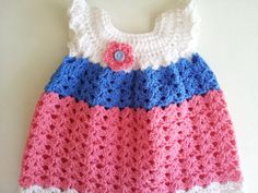 Classic Baby Girl Crochet Pinafore  Baby Girl by PoochieBaby