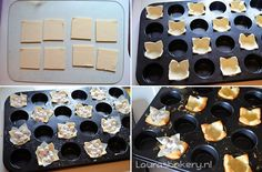 Bladerdeeg bakjes maken / •Bladerdeeg (Koopmans, vierkante plakjes) •Ei, losgeklopt •Mini muffin vorm •Bakpapier •Bakknikkers (of rijst/bonen)
