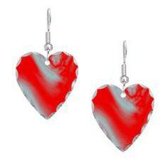 Red Wave Heart Earring> Lisa Williams Art