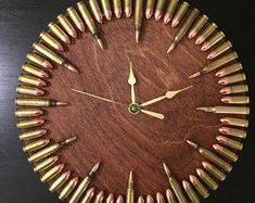 Home Bar Design Bullet Clock in red chestnut stain. Great gift for shooters, hunters, military, man cave, gun gift! Man Cave Bar, Man Cave Guns, Man Caves, Man Cave Garage, Man Cave Basement, Ultimate Man Cave, Gun Rooms, Leather Bound Books, Diy Décoration