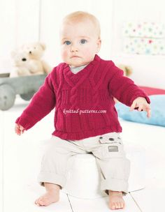 Child's cabled sweater - To fit age: 0-6mths[6-12mths:1-2yrs:2-3yrs:4-5yrs:6-7yrs]