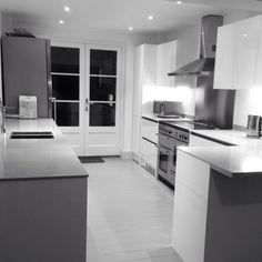 White Kitchen Units Black Worktop white gloss kitchen with black aga | for the kitchen | pinterest