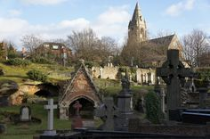 The Gothic charm of Rock Cemetery. Caves, tunnels, a sink hole and Victorian headstones. Via Kate Tyler at Shake Social. Nottingham City, Cemetery Art, Old Buildings, Barcelona Cathedral, England, Rock, Caves, Family History, Mississippi