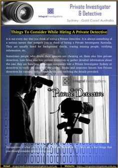 Are you searching for intelligent private detective? Here you can get some important tips that will helps you to find private Investigator in Australia. We have a perfect private investigator Sydney team for investigations.