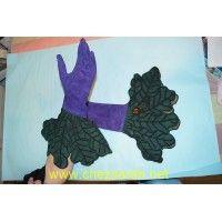 Paire de gants en daim violet et vert Isabel Canovas