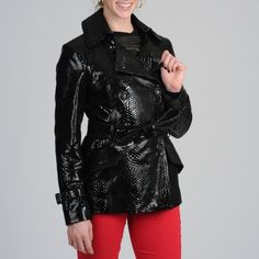 Black Leather Trenchcoat by Via Spiga. Buy for $219 from Overstock