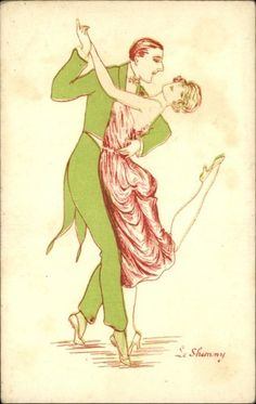 Art Deco Couple Dancing The Shimmy Old Postcard | eBay