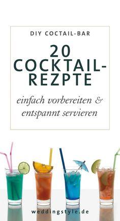 Wir haben euch ein paar richtig leckere Cocktail Rezepte für eure Cocktailbar zur Hochzeit gemixt, die man auch ohne einen Live-Barkeeper zu engagieren ganz einfach servieren kann.  Eure Gäste werden es lieben! Versprochen! https://www.weddingstyle.de/20-leckere-cocktail-rezepte-fuer-eure-hochzeits-cocktail-bar/?utm_campaign=coschedule&utm_source=pinterest&utm_medium=weddingstyle&utm_content=20%20leckere%20Cocktail-Rezepte%20f%C3%BCr%20eure%20Hochzeits-Cocktail-Bar