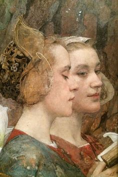 """Fleurs du Lac"" - Edgar Maxence (French, 1871–1954), oil on canvas, 1900 {symbolist fine art painter twin female portraits detail #twentiethcentury #arthistory}"