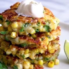 Brunch Ideas Discover Cheesy Corn Fritters These are SO good! These easy to make fritters are loaded up with fresh corn flavor and most importantly cheese! Mexican Food Recipes, Healthy Recipes, Fresh Corn Recipes, Chinese Recipes, Frozen Corn Recipes, Healthy Meals, Canned Corn Recipes, Vegetarian Recipes Videos, Lettuce Wrap Recipes