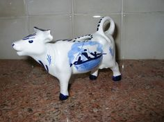 Vintage Delft Holland Cow Pitcher Creamer Blue and White Floral Windmills   eBay