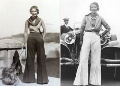 Q's Daydream: Inspiration Friday, The Fabulous Pants Of The 1930's-- Pleats in the lower CF of each leg on the white pair!!