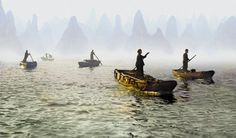 Morning ferries, China by Fan Ho