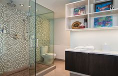 During the #master #bath #remodel, a wall enclosing the toilet was taken down to make room for a larger shower. Designed by Patrick Brian Jones, PLLC. #interior #design #architecture