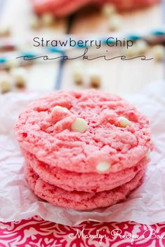 Strawberry Chip Cookies! They taste just like strawberry milk and they're super easy to make!
