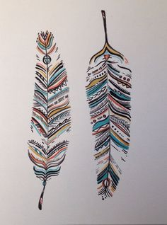 Tribal watercolor feathers on Etsy, $40.00